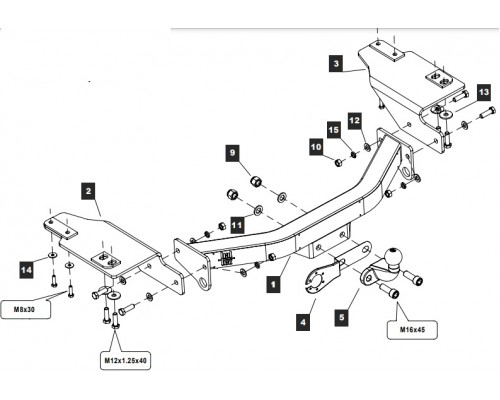 Фаркоп Baltex для Toyota Land Cruiser Prado 120/ Prado 150