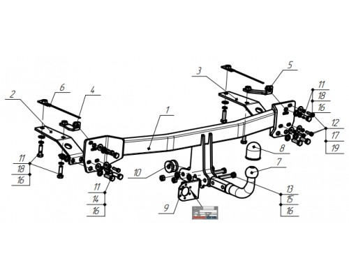 Фаркоп Bosal 5534-А для Honda CR-V 5 2017-
