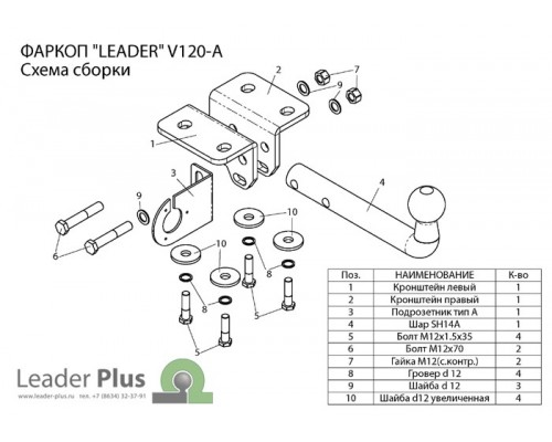 Фаркоп Лидер-плюс для Volkswagen Amarok 2010-