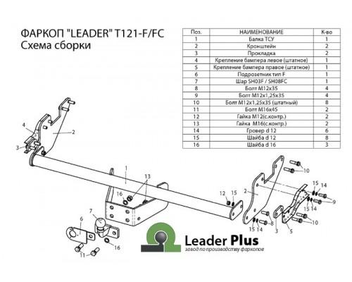 Фаркоп Лидер-плюс для Toyota Hilux 2015-
