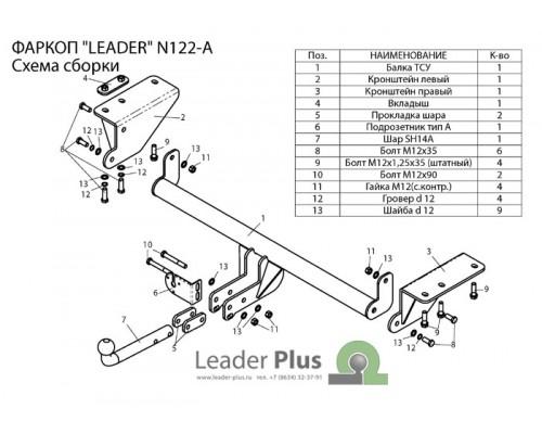 Фаркоп Лидер-плюс для Nissan X-Trail 2014-