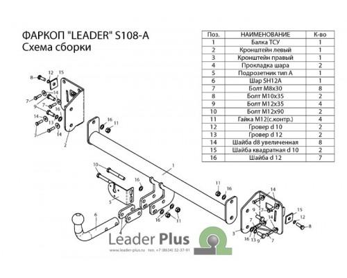 Фаркоп Лидер-плюс для Skoda Octavia лифтбек 2013-
