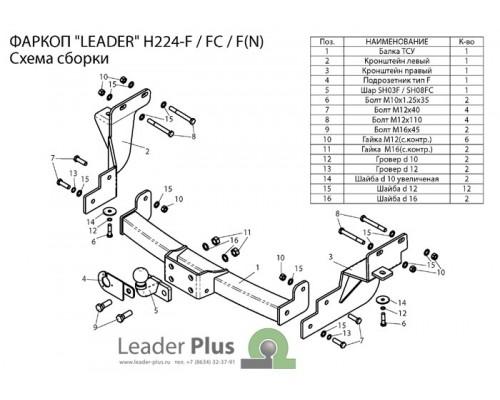 Фаркоп Лидер-плюс для Hyundai Santa Fe 2012-