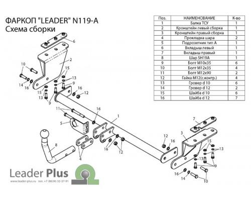 Фаркоп Лидер-плюс для Nissan Tiida седан 2007-