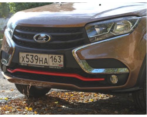 Накладка на передний бампер (покрашенная в цвет) Yuago АртФорм для Lada Xray