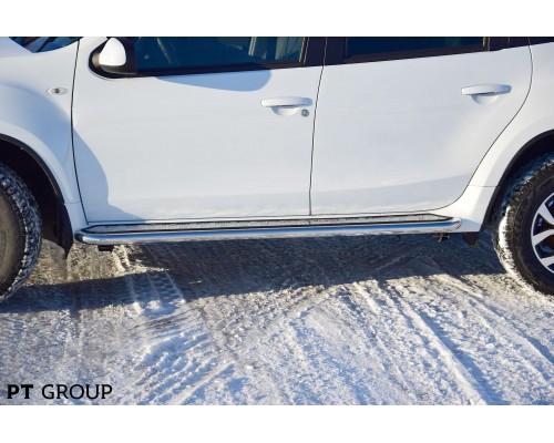 """Защита порогов ПТ Групп """"Эстонец"""" (НПС) с алюмин. площ. для Nissan Terrano 2014-"""