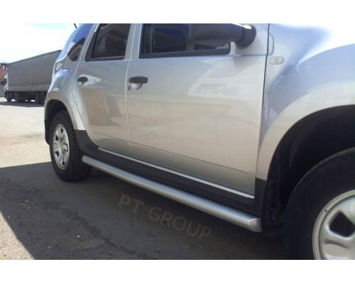 Защита порогов вогнутая ПТ Групп D63 (сталь ППК) для Nissan Terrano 2014-