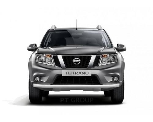 Защита переднего бампера ПТ Групп одинарная D63 (НПС) для Nissan Terrano 2014-