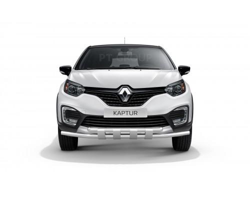 Защита переднего бампера двойная с пластинами ПТ Групп D63/63 (НПС) для Renault Kaptur