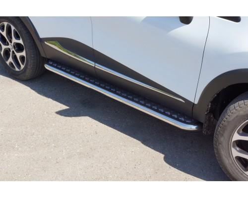 Защита порогов с алюминиевой площадкой ПТ Групп D51 (НПС) для Renault Kaptur