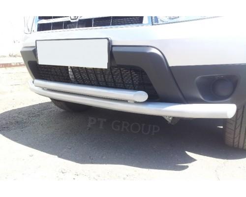 Защита переднего бампера ПТ Групп двойная D63/51 (сталь ППК) для Renault Duster 2012- (в т.ч. рестайлинг)