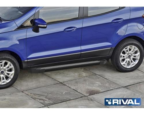 """Пороги алюминиевые Rival """"Black"""" для Ford Ecosport 2014-"""