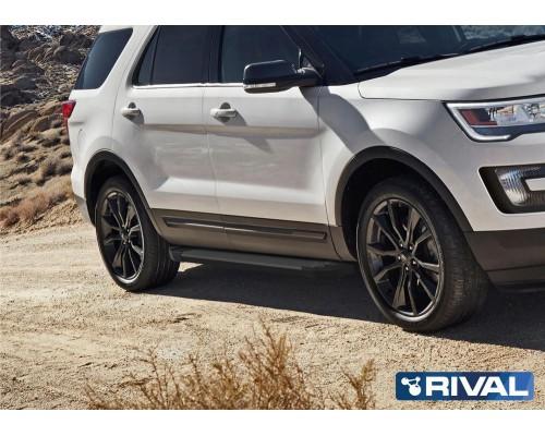 """Пороги алюминиевые Rival """"Black"""" для Ford Explorer 2011-2015/2015-"""