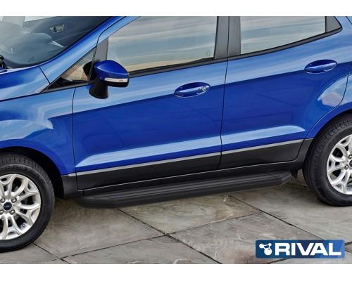 """Пороги алюминиевые Rival """"Premium-Black"""" для Ford Ecosport 2014-"""