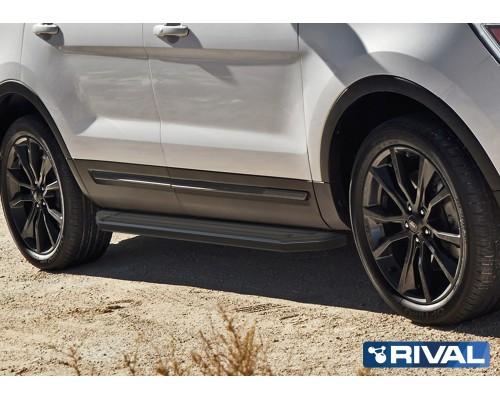 """Пороги алюминиевые Rival """"Premium-Black"""" для Ford Explorer 2011-2015/2015-"""