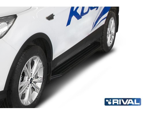 "Пороги алюминиевые Rival ""Premium-Black"" для Ford Kuga 2013-"