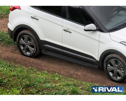 """Пороги алюминиевые Rival """"Black"""" для Hyundai Creta"""