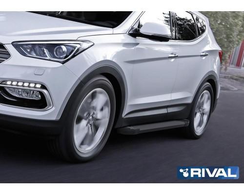 """Пороги алюминиевые Rival """"Black"""" для Hyundai Santa Fe 2012-2018"""
