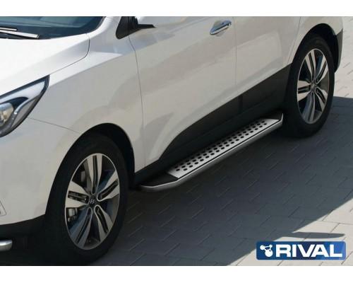 """Пороги алюминиевые Rival """"Bmw-style"""" для Hyundai IX35 / Kia Sportage 2010-2015"""