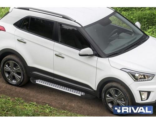 """Пороги алюминиевые Rival """"Bmw-style"""" для Hyundai Creta"""