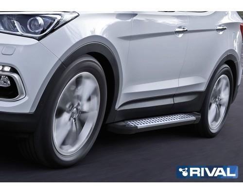 "Пороги алюминиевые Rival ""Bmw-style"" для Hyundai Santa Fe 2012-2018"