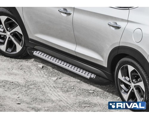 """Пороги алюминиевые Rival """"Bmw-style"""" для Hyundai Tucson 2015- / Kia Sportage 2016-"""