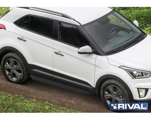 """Пороги алюминиевые Rival """"Premium-Black"""" для Hyundai Creta"""