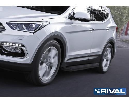 """Пороги алюминиевые Rival """"Premium-Black"""" для Hyundai Santa Fe 2012-2018"""