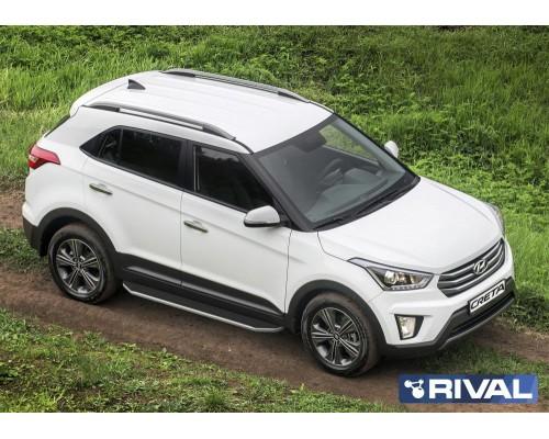 """Пороги алюминиевые Rival """"Premium"""" для Hyundai Creta"""