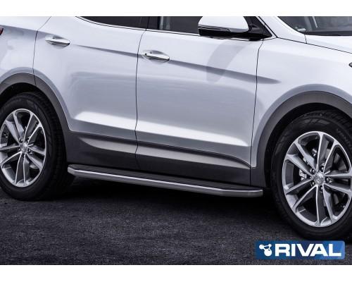 """Пороги алюминиевые Rival """"Premium"""" для Hyundai Santa Fe 2012-2018"""