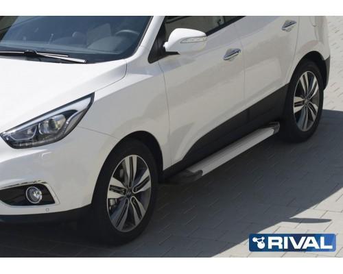"Пороги алюминиевые Rival ""Silver"" для Hyundai IX35 / Kia Sportage 2010-2015"