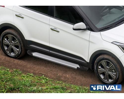 """Пороги алюминиевые Rival """"Silver"""" для Hyundai Creta"""