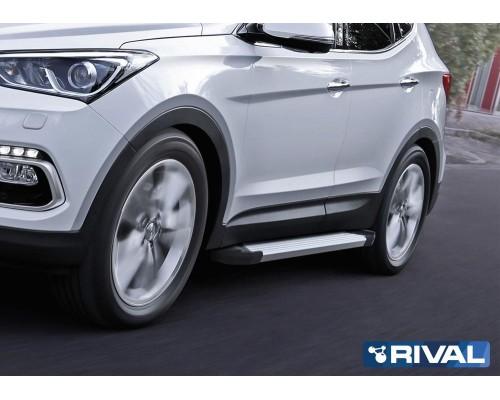 "Пороги алюминиевые Rival ""Silver"" для Hyundai Santa Fe 2012-2018"