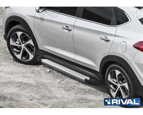 "Пороги алюминиевые Rival ""Silver"" для Hyundai Tucson 2015- / Kia Sportage 2016-"