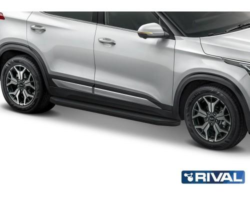 "Пороги алюминиевые Rival ""Premium-Black"" для Kia Seltos / Kia Soul 2019-"