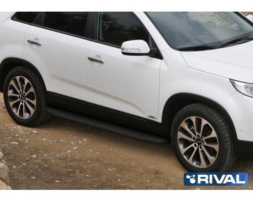 "Пороги алюминиевые Rival ""Premium-Black"" для Kia Sorento 2012-"