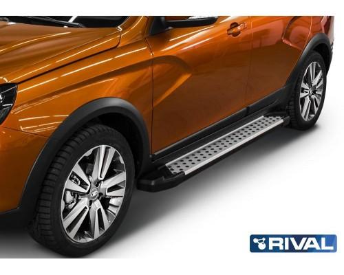 "Пороги алюминиевые Rival ""Bmw-style"" для Lada Vesta SW Cross 2017-"