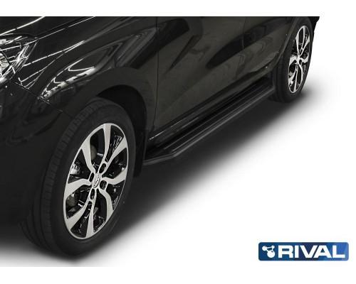 "Пороги алюминиевые Rival ""Premium-Black"" для Lada Xray 2016-"