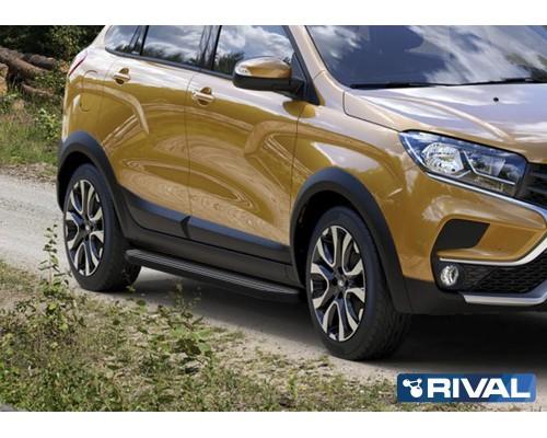 "Пороги алюминиевые Rival ""Premium-Black"" для Lada Xray Cross 2018-"
