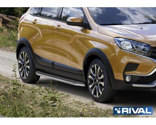 "Пороги алюминиевые Rival ""Premium"" для Lada Xray Cross 2018-"