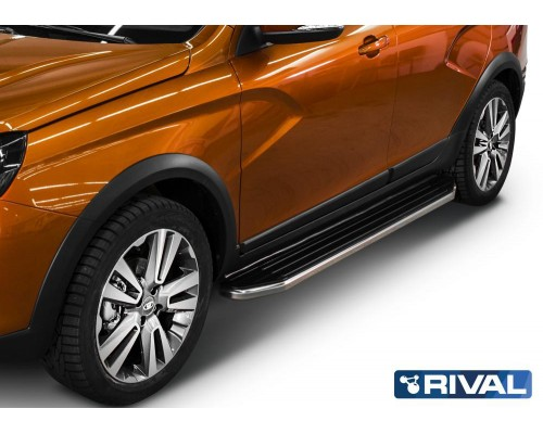 """Пороги алюминиевые Rival """"Premium"""" для Lada Vesta SW Cross 2017-"""
