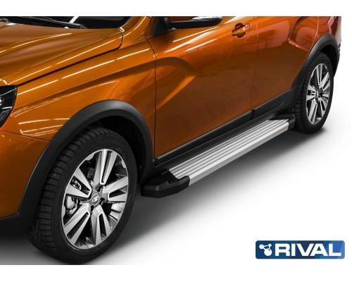 """Пороги алюминиевые Rival """"Silver"""" для Lada Vesta SW Cross 2017-"""