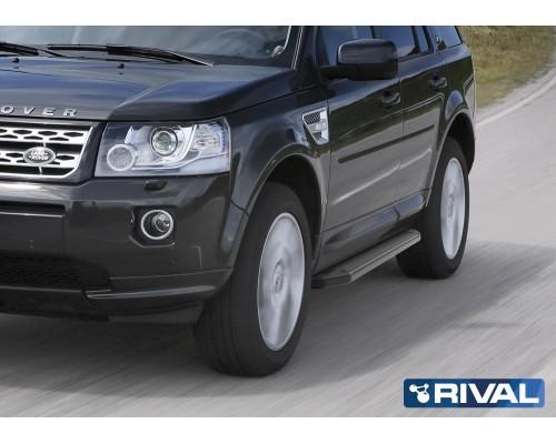 """Пороги алюминиевые Rival """"Premium-Black"""" для Land Rover Freelander 2006-2014"""