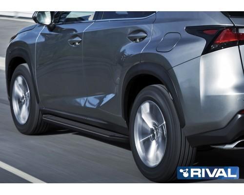 "Пороги алюминиевые Rival ""Premium-Black"" для Lexus NX 2014-2017"