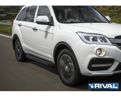 """Пороги алюминиевые Rival """"Premium-Black"""" для Lifan X60 2016-"""