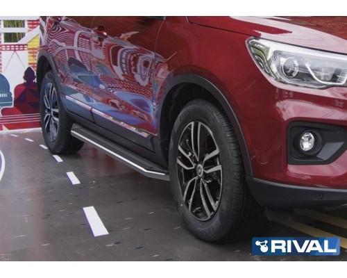 """Пороги алюминиевые Rival """"Premium"""" для Lifan X70 2018-"""