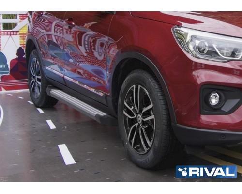 """Пороги алюминиевые Rival """"Silver"""" для Lifan X70 2018-"""