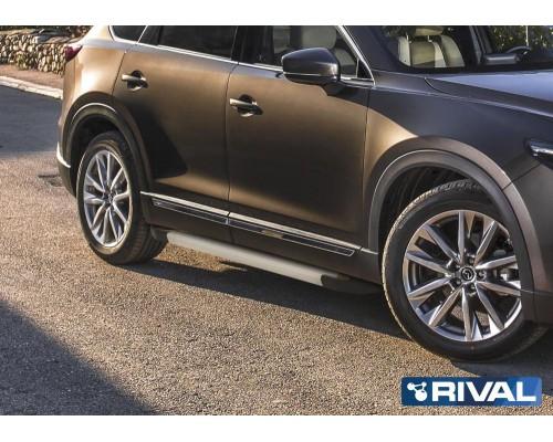 "Пороги алюминиевые Rival ""Silver"" для Mazda CX-9 2017-"