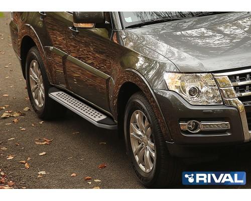 "Пороги алюминиевые Rival ""Premium-Bmw-style"" для Mitsubishi Pajero IV 2006-"