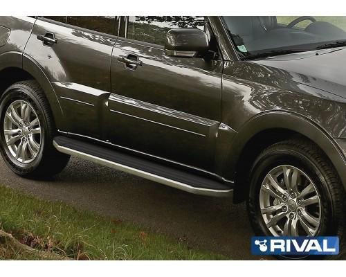 "Пороги алюминиевые Rival ""Premium"" для Mitsubishi Pajero IV 2006-"